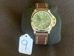 MEN'S PANERAI LUMINOR GMT OP524 WATCH - STAINLESS STEEL FACE / LEATHER BAND - SERIAL No. BB1002520