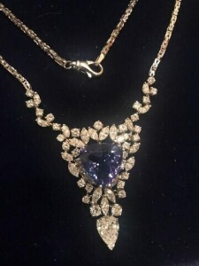 DESIGNER NECKLACE - WHITE GOLD SETTING (15.9 DWT) - 54 DIAMONDS (11.75 CT TW) - TANZANITE GEM (9 CT) - VERY RARE / ONE OF A KIND