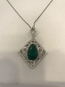 EMERALD / DIAMOND PENDANT - 18K SETTING (4.1 DWT) - WITH CHAIN - DIAMONDS (.78 CT TW / VVS CLARITY) - EMERALD (4.52 CT) - SIGNED / ONE OF A KIND