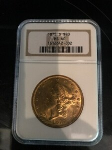 GOLD $20 US COIN - MS 60 GRADE NGC - 1875 S