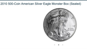 BOX .999 SILVER EAGLES - 1oz EACH - 2010 - WEST POINT MINT - 500 COUNT / SEALED BOX