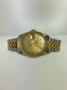 ROLEX DATEJUST 16233 MENS WATCH - 36 MM - STAINLESS STEEL CASE - STAINLESS STEEL & 18K YELLOW GOLD JUBILEE BRACELET - CHAMPAGNE INDEX DIAL WITH GOLD HOUR MARKERS / GOLD LUMINESCENT HOUR & MINUTE HANDS - 18K YELLOW GOLD FLUTED FIXED BEZEL - SCRATCH RESISTA