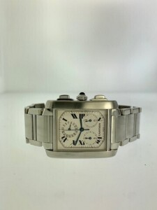CARTIER TANK FRANCAISE W51001Q3 LADIES WATCH - STAINLESS STEEL CASE - STAINLESS STEEL BRACELET WITH HIDDEN DEPLOYMENT CLASP - WHITE DIAL WITH BLACK ROMAN NUMERAL HOUR MARKERS / 3 SUB DIALS FOR CHRONOGRAPH MOVEMENT - STAINLESS STEEL FIXED BEZEL - SCRATCH R