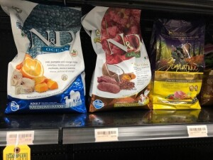 ASSORTED SMALL BAGS ASSORTED DOG FOOD - N&D, PURE VITA, ACANA, ANNAMAET, ETC